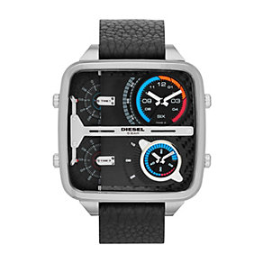 Diesel Men's Square Dial Black Leather Strap Watch - Product number 1388169