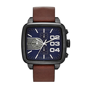 Diesel Men's Square Blue Dial Brown Leather Strap Watch - Product number 1388193