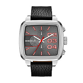 Diesel Men's Square Grey Dial Black Leather Strap Watch - Product number 1388215