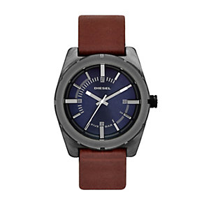 Diesel Men's Blue Dial Brown Leather Strap Watch - Product number 1388290