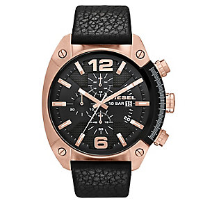 Diesel Men's Overflow Black Leather Strap Watch - Product number 1388312