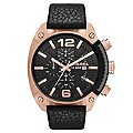 Diesel Men's Gold Ion Plated Black Leather Strap Watch - Product number 1388312