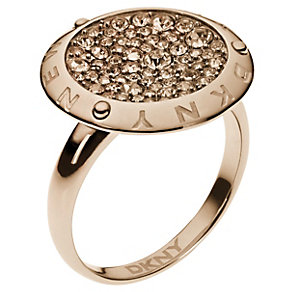 DKNY Rose Gold-Plated Crystal Disc Ring Size M 1/2 - Product number 1388495