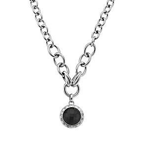 DKNY Stainless Steel Black Crystal Disc Necklace - Product number 1388509