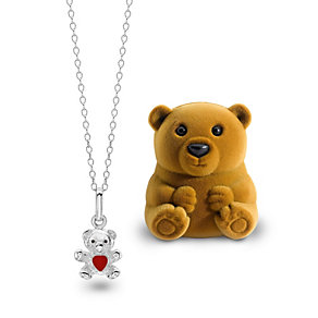 "Children's 14"" Sterling Silver Enamel Teddy Pendant - Product number 1388967"