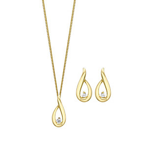 "Lumiere 18ct Gold-Plated 18"" With Swarovski Zirconia Set - Product number 1388991"