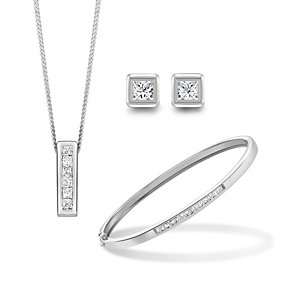Silver Rhodium-Plated & Cubic Zirconia Three Piece Set - Product number 1389017