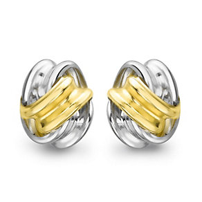Silver & 9ct Yellow Gold Twist Knot Stud Earrings - Product number 1389041