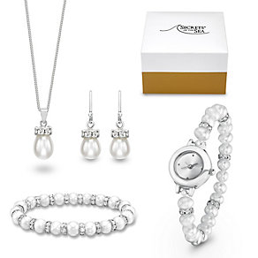 Secrets of the Sea Cultured Freshwater Pearl & Crystal Set - Product number 1392735