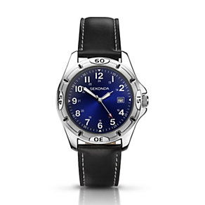 Sekonda Men's Stainless Steel Black PU Strap Watch - Product number 1392824