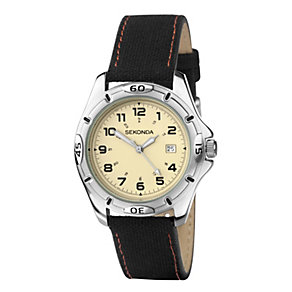 Sekonda Men's Cream Dial Black Strap Watch - Product number 1392859