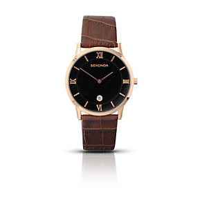 Sekonda Men's Rose Gold-Plated Brown Leather Strap Watch - Product number 1394134