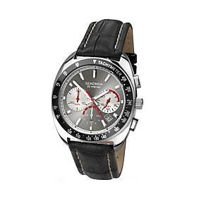 Sekonda Men's Stainless Steel Black Leather Strap Watch - Product number 1394258