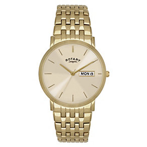 Rotary Men's Champagne Dial Gold-Plated Bracelet Watch - Product number 1394568