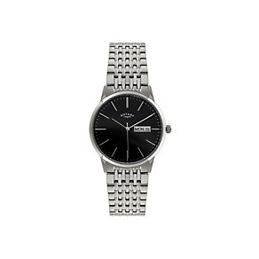 Rotary Men's Black Dial Stainless Steel Bracelet Watch - Product number 1394606