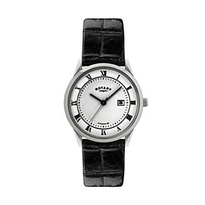 Rotary Men's Stainless Steel Black Leather Strap Watch - Product number 1394746