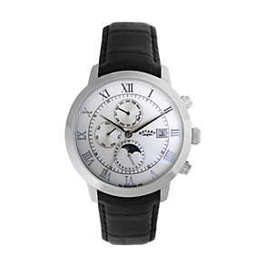 Rotary Men's Stainless Steel Black Leather Strap Watch - Product number 1394762