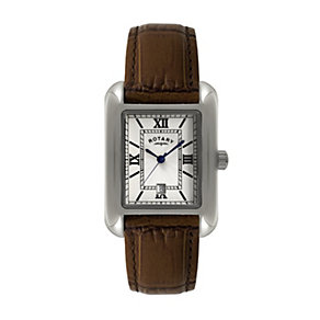 Rotary Men's Rectangle Brown Leather Strap Watch - Product number 1394789