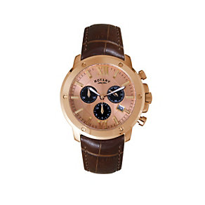 Rotary Men's Stainless Steel Brown Leather Strap Watch - Product number 1394827