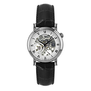Rotary Men's Stainless Steel Black Leather Strap Watch - Product number 1394835