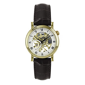 Rotary Men's Stainless Steel Brown Leather Strap Watch - Product number 1394843