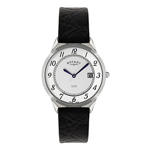 Rotary Men's Stainless Steel Black Leather Strap Watch - Product number 1394851