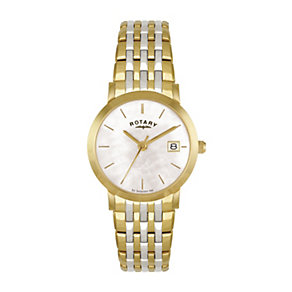 Rotary Ladies' Mother Of Pearl Two Colour Bracelet Watch - Product number 1394940