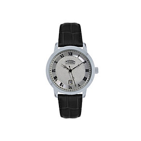 Rotary Men's Stainless Steel Black Leather Strap Watch - Product number 1395068