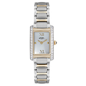 Rotary Ladies' Rectangle Stone Set Two Colour Bracelet Watch - Product number 1395084