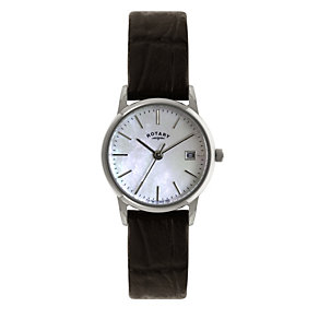 Rotary Ladies' Stainless Steel Brown Leather Strap Watch - Product number 1395181