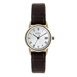 Rotary Ladies' Rose Gold-Plated Brown Leather Strap Watch - Product number 1395203