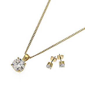 Buckley Gold-Plated Cubic Zirconia Pendant & Earrings Set - Product number 1395491