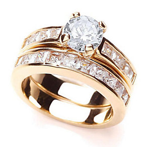 Buckley Gold-Plated Crystal Set Wedding Band Duo - Product number 1395890