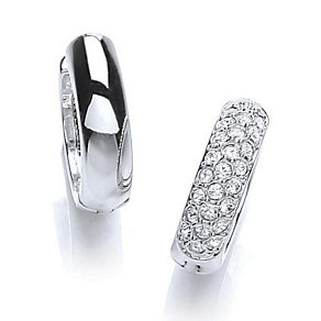 Buckley Rhodium-Plated Crystal Reversible Huggie Earrings - Product number 1395920