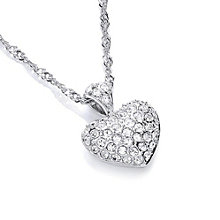 Buckley London Rhodium-Plated Mini Crystal Heart Pendant - Product number 1396188