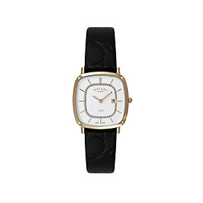 Rotary Men's Stainless Steel Black Leather Strap Watch - Product number 1397087