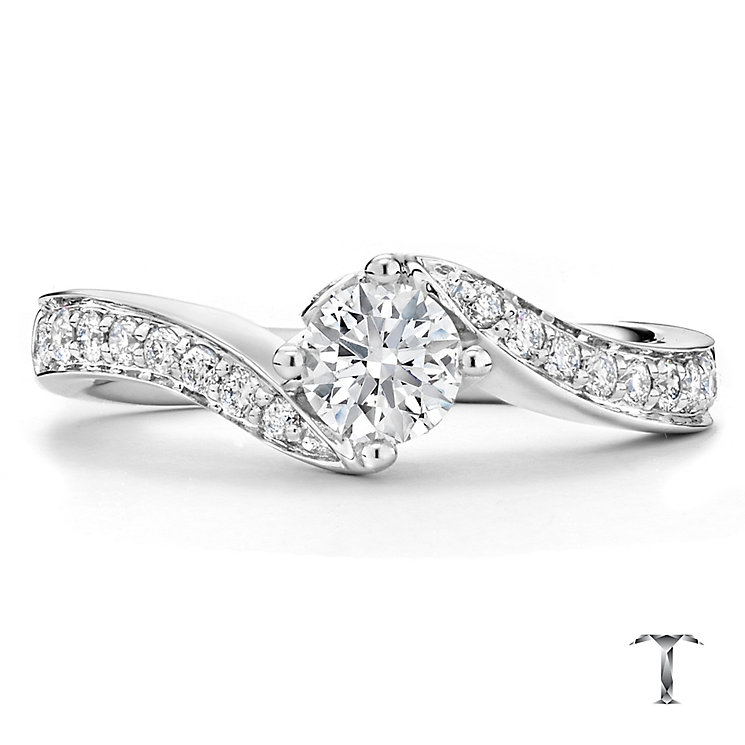 Tolkowsky 18ct white gold 0.66ct I-I1 diamond twist ring - Product number 1397206