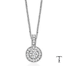 Tolkowsky 18ct white gold 0.50ct I-I1 diamond halo pendant - Product number 1397478