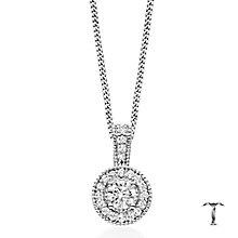 Tolkowsky 18ct white gold 0.50ct I-I1 diamond halo pendant - Product number 1397478
