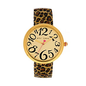 Betsey Johnson Ladies' Gold Tone Leopard Print Exander Watch - Product number 1397958