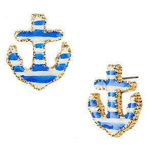 Betsey Johnson Blue & White Anchor Stud Earrings - Product number 1398016