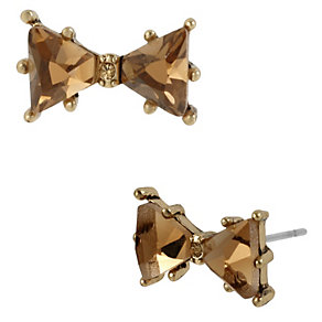 Betsey Johnson Gold-Plated Brown Bow Stud Earrings - Product number 1398091