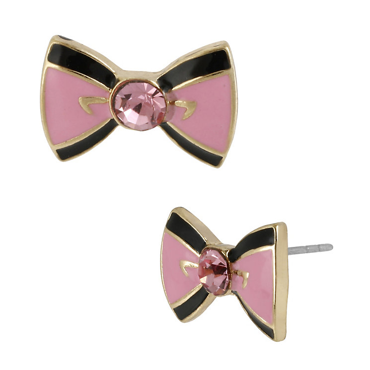 Betsey Johnson Gold-Plated Pink & Black Bow Stud Earrings - Product number 1398105