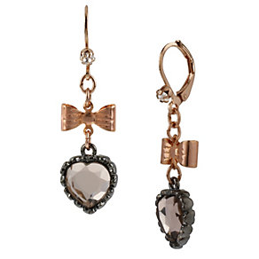Betsey Johnson Bow & Crystal Heart Drop Earrings - Product number 1398121