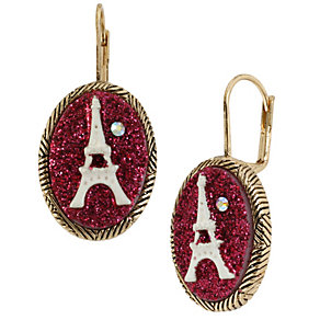 Betsey Johnson Eiffel Tower Pink Oval Drop Earrings - Product number 1398164