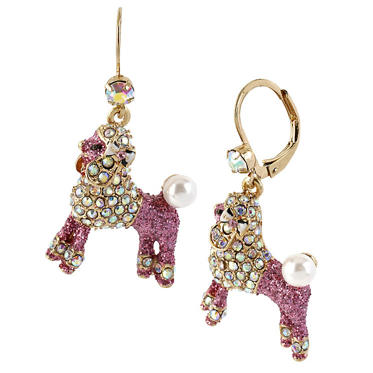 Betsey Johnson Pink Crystal Poodle Drop Earrings - Product number 1398210