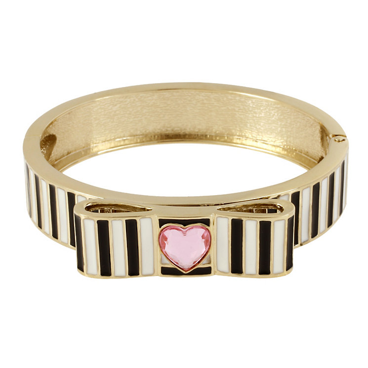 Betsey Johnson Black & White Striped Bow Bangle - Product number 1398245