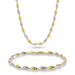Together Bonded Silver & 9ct Gold Bracelet & Necklace Set - Product number 1399985