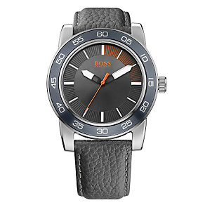 Boss Orange Men's Grey Dial Black Leather Strap Watch - Product number 1400797