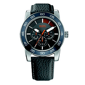 Boss Orange Men's Grey Multi Dial Black Leather Strap Watch - Product number 1400827